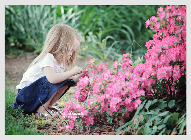 Child with beautiful spring flowers natural light outdoor photographer