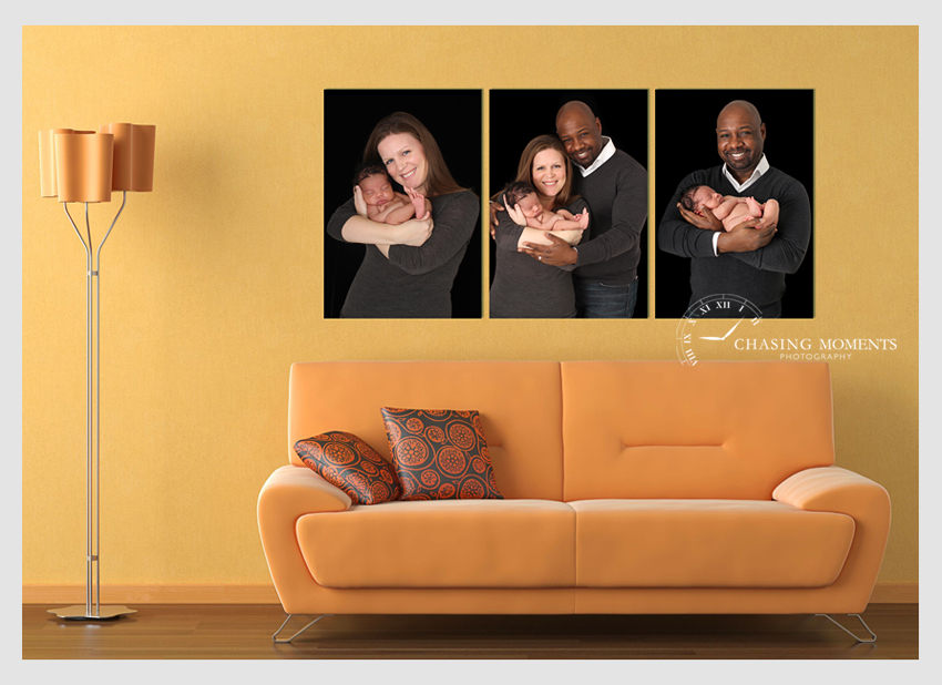 collage of newborn with mom and dad photos as canvas wall art