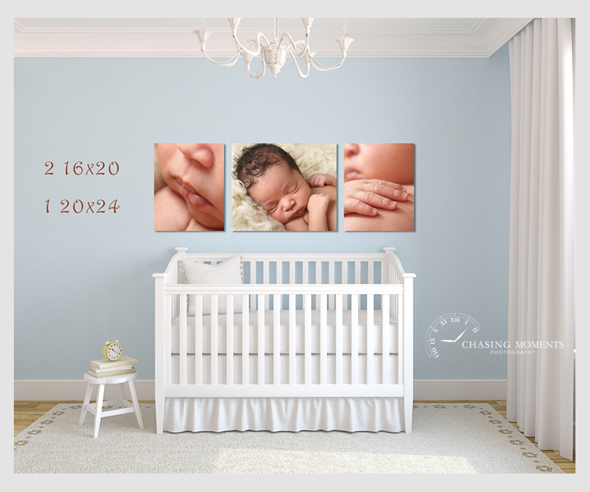 enlargement canvas wall art from a newborn photo session