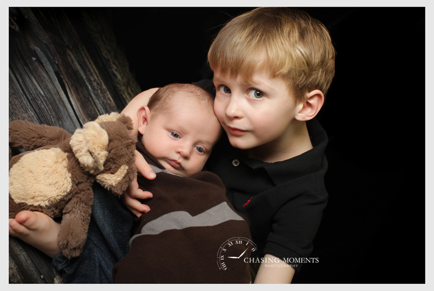 newborn baby sibling shot with toddler brother
